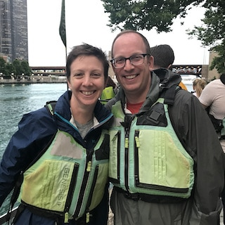 Caroline and Steve kayaking in Chicago 2019